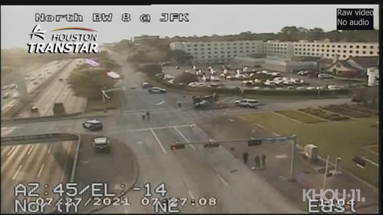 Raw: Fatal crash reported along Sam Houston Tollway near Bush Airport