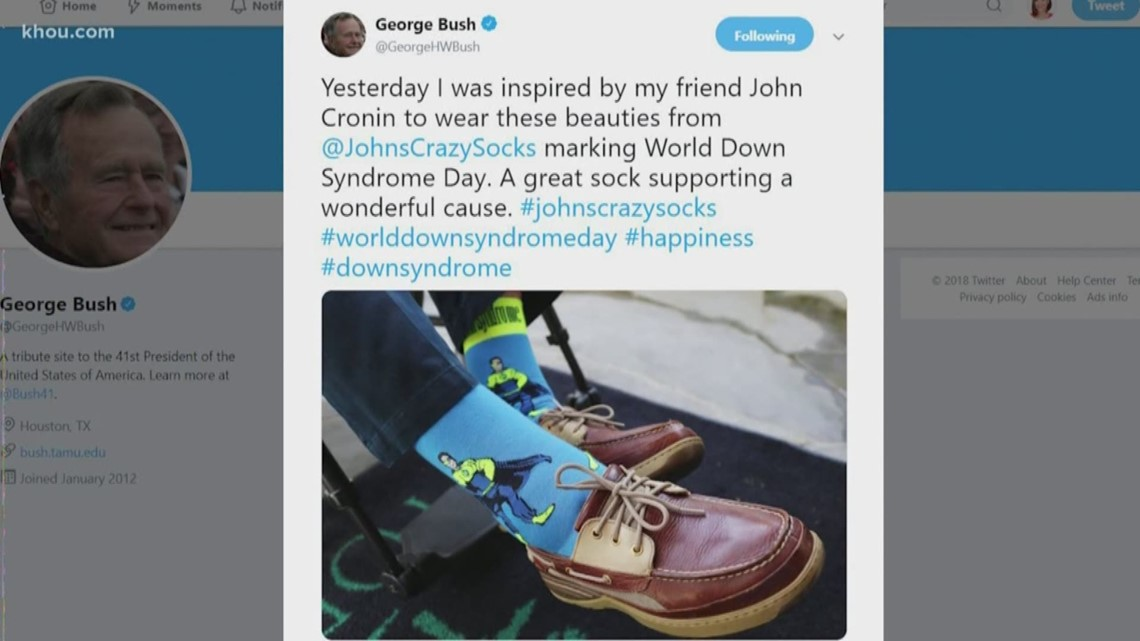 President George H W Bush Wears Socks Designed By Young Man With