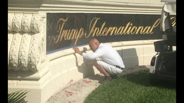 Red paint splashed on Trump International Golf Club sign in Florida