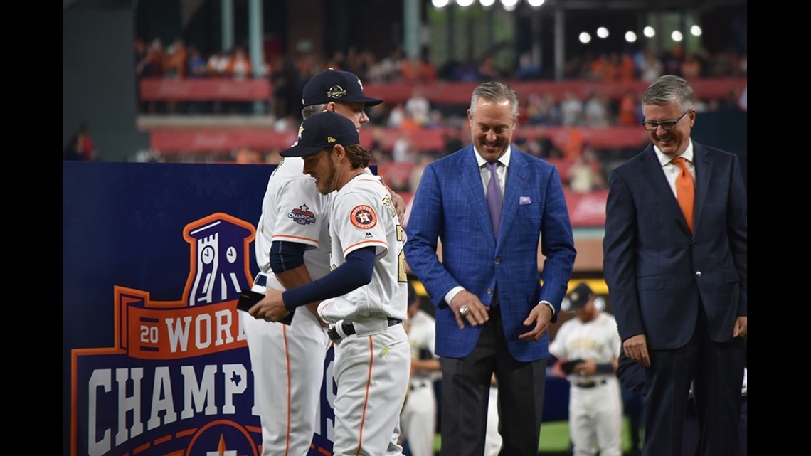 2ffae472c08 The Astros received their hard-earned World Series rings in a ceremony at  Minute Maid Park. Each ring includes the phrases that sum up their magical  journey ...