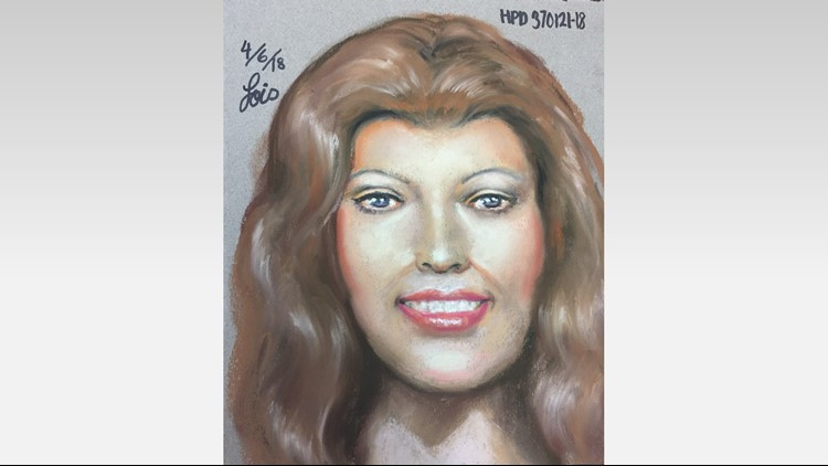 Volunteers picking up trash found the woman's head in a bag last month. Police have released a composite sketch of the victim in hopes someone will recognize her.
