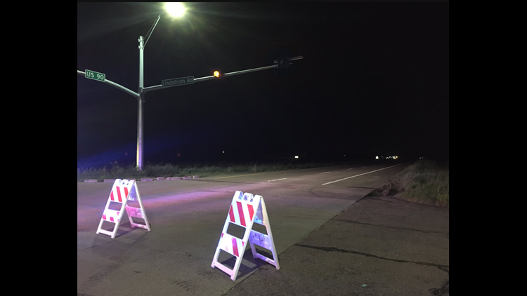 A look at the roadblock outside the mandatory evacuation zone surrounding the Arkema chemical plant in Crosby, Texas.