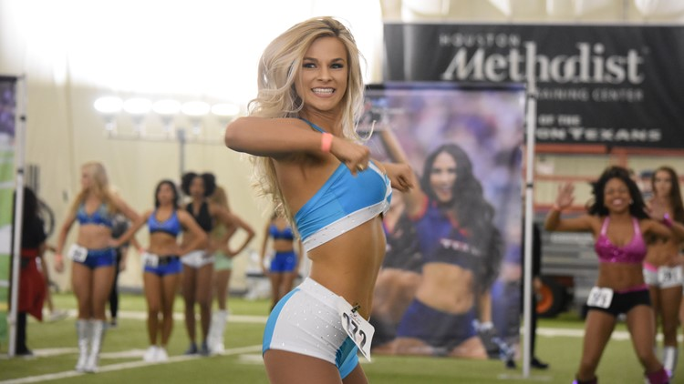 Nearly 400 women, and a handful of men, showed up at the Houston Methodist Training Center Saturday to compete for 35 spots on the Houston Texans Cheerleader squad.
