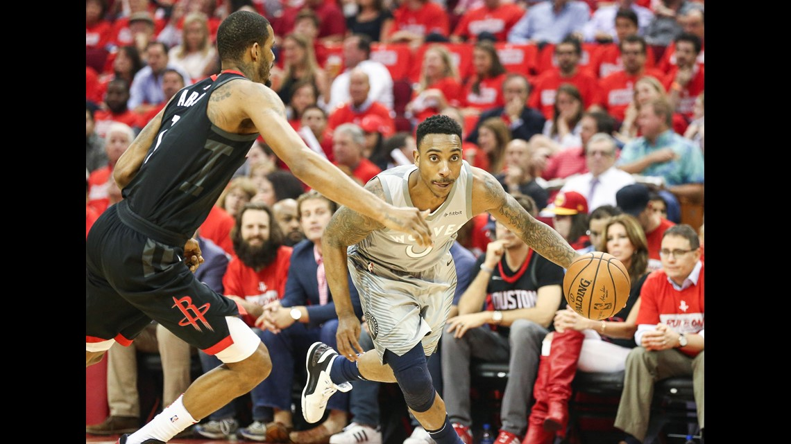 3d0faf88ae62 Minnesota Timberwolves guard Jeff Teague (0) drives with the ball as Houston  Rockets forward Trevor Ariza (1) defends during the first quarter in game  two ...