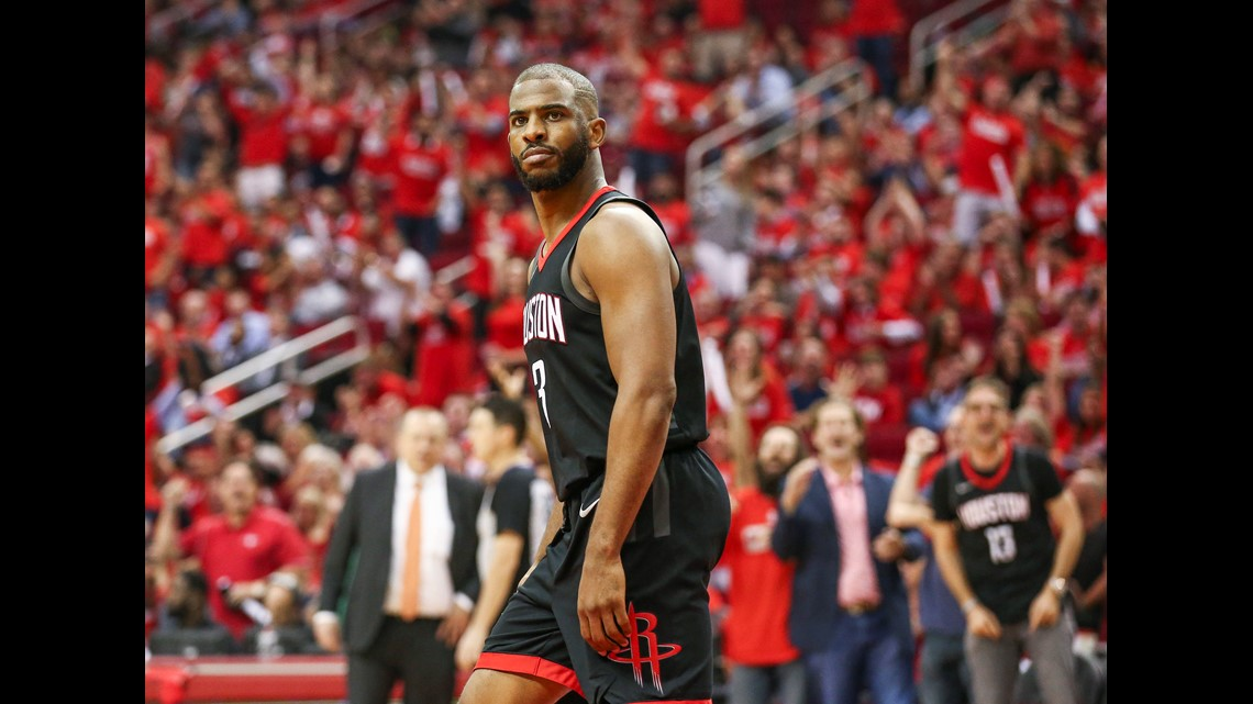 01a87927a Houston Rockets guard Chris Paul (3) reacts after scoring a basket during  the fourth quarter against the Minnesota Timberwolves in game two of the  first ...