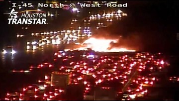 I-45 North reopens after fiery 7-vehicle crash early Friday