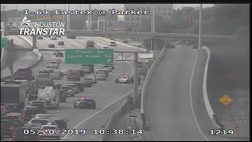 Heavy traffic on Eastex Freeway after fatal car fire