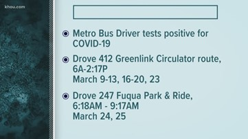 METRO tracking down passengers who rode these routes after bus driver tests positive for COVID-19