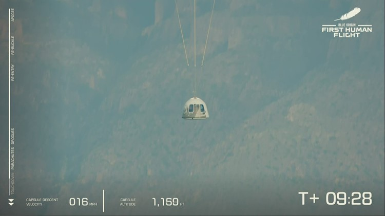 WATCH: Jeff Bezos, crew make successful landing back to Earth after trip to space on New Shepard