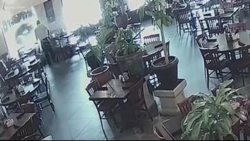 Employee not seriously hurt after tire flies through restaurant window