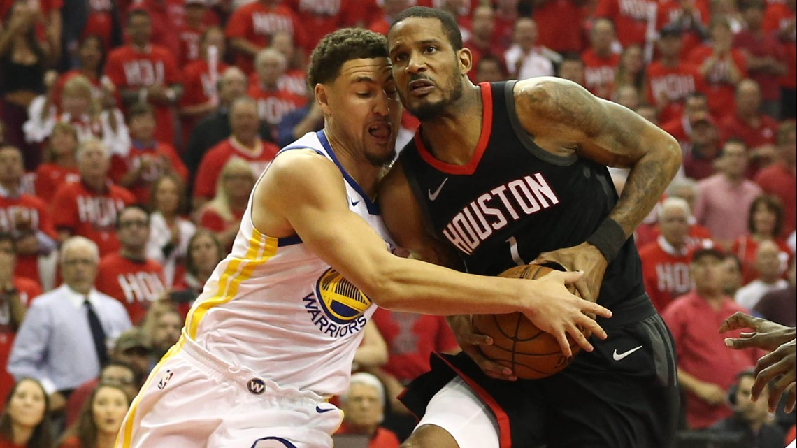 cb2d5d6bc44 Houston Rockets forward Trevor Ariza (1) drives against Golden State  Warriors guard Klay Thompson (11) during the first quarter in game one of  the Western ...