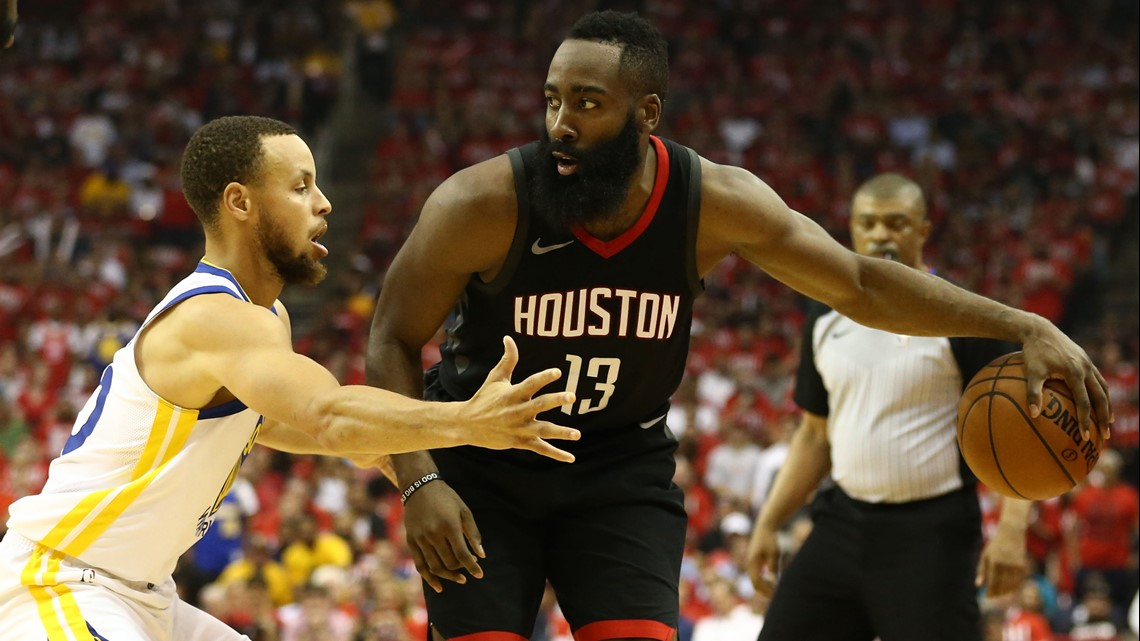 d3eeedd48cac Houston Rockets guard James Harden (13) dribbles against Golden State  Warriors guard Stephen Curry (30) during the second quarter in game one of  the Western ...