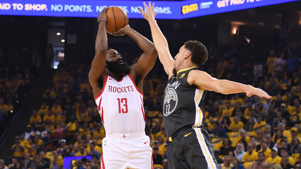 306ab274097f Houston Rockets guard James Harden (13) shoots against Golden State  Warriors guard Klay Thompson (11) during the first quarter in game four of  the Western ...