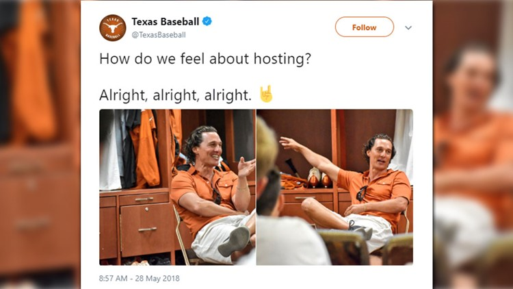 Matthew McConaughey has not given an official comment on the exciting news, but by judging the photos of him posted on UT's Twitter page, he seems pretty pumped about it.