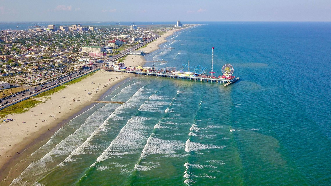 photos aerial photos of the blue clear water in galveston
