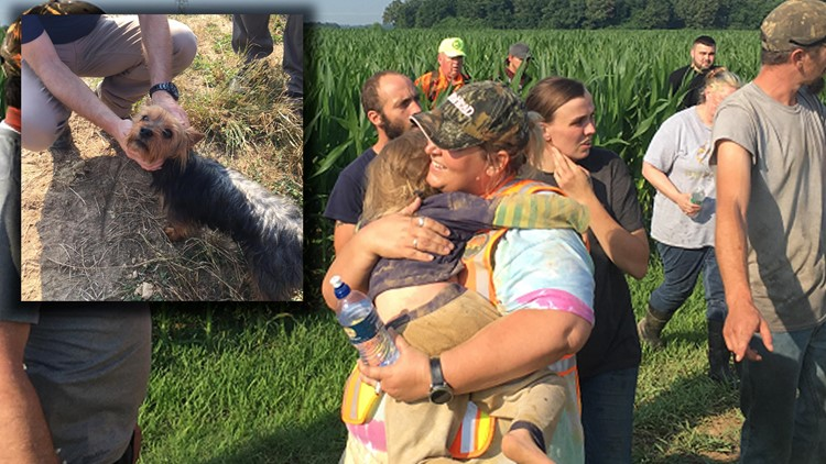 Missing Missouri 3-year-old found in cornfield, dog at her side