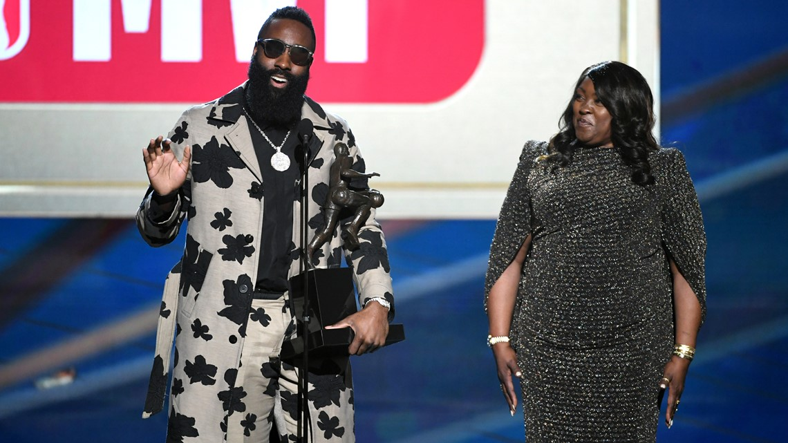 54e6f10a573 MVP winner James Harden and Monja Willis speak onstage at the 2018 NBA  Awards at Barkar Hangar on June 25