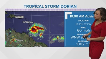Tropical Storm Dorian could become a hurricane by Monday evening