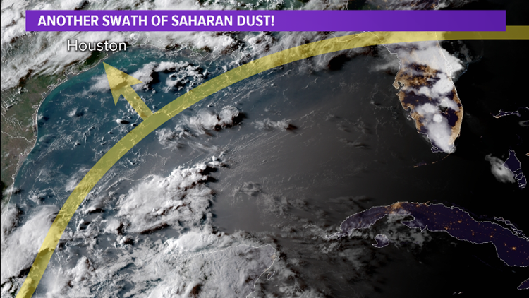 BROOKS'S BLOG: Yet another round of Saharan dust from Africa pushes into Houston this weekend. Sunday is the day and the impacts will be widespread.