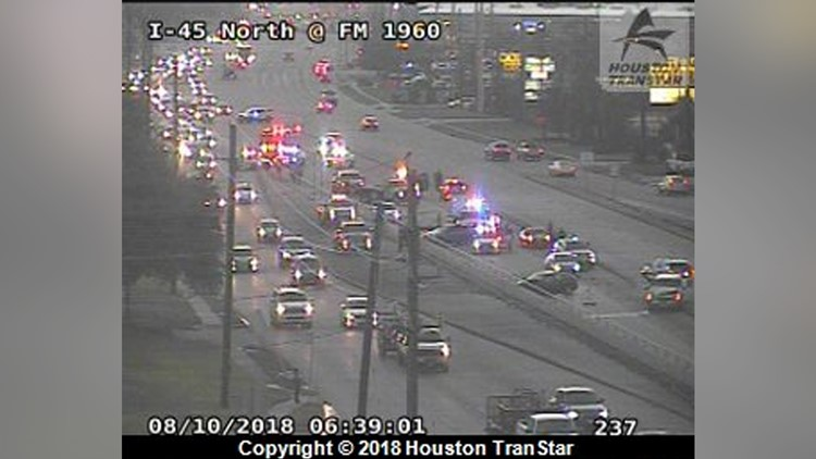 FM 1960 heading west was closed shortly after the crash, forcing drivers to the I-45 frontage road.