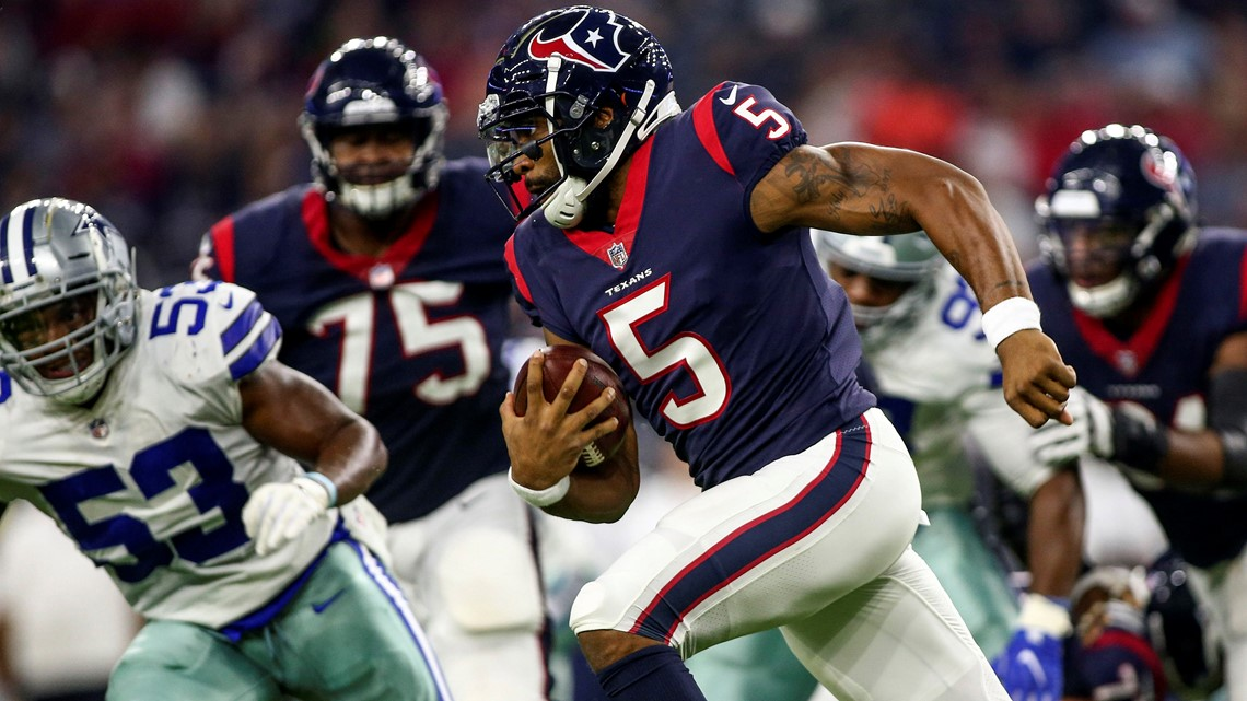 e8bfd6c14 Houston Texans quarterback Joe Webb (5) runs with the ball during the first  quarter against the Dallas Cowboys at NRG Stadium. Troy Taormina-USA TODAY  ...