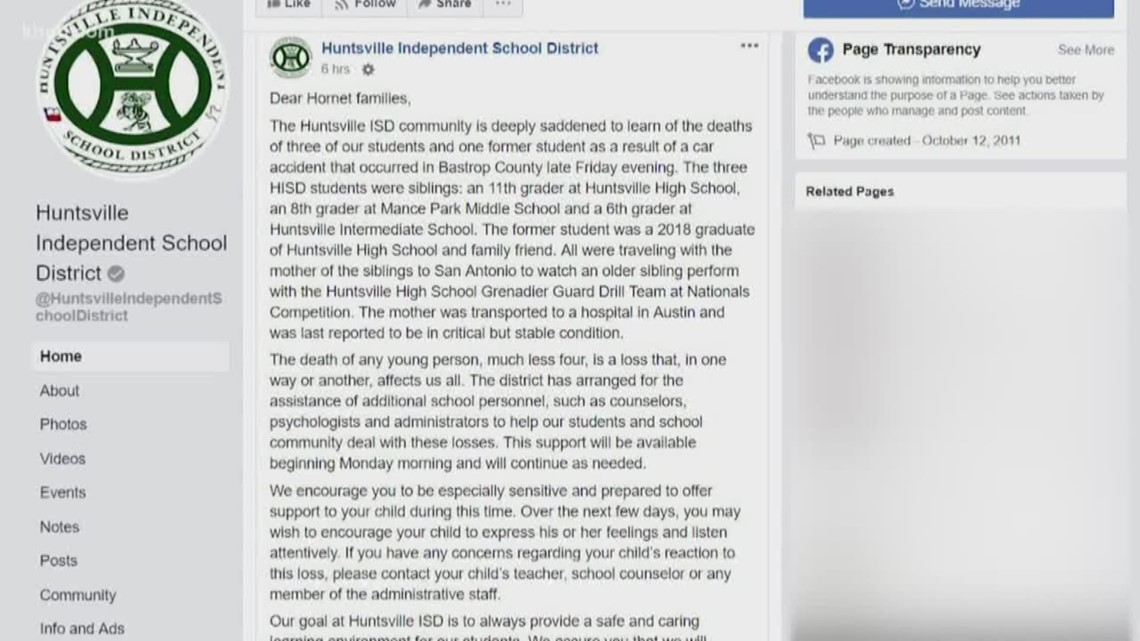 Huntsville ISD students, one former student killed in car crash in Bastrop  County