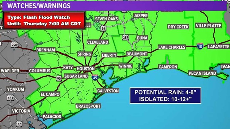 Houston Forecast: Flash Flooding will be the threat through Thursday