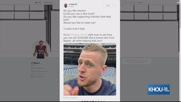 J.J. Watt giving away a Ford Raptor truck, $100K to put toward a house or mortgage