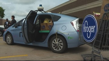 Kroger's grocery delivery service with self-driving car