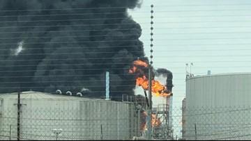Burning gasoline sparks fire at ExxonMobil Baytown plant