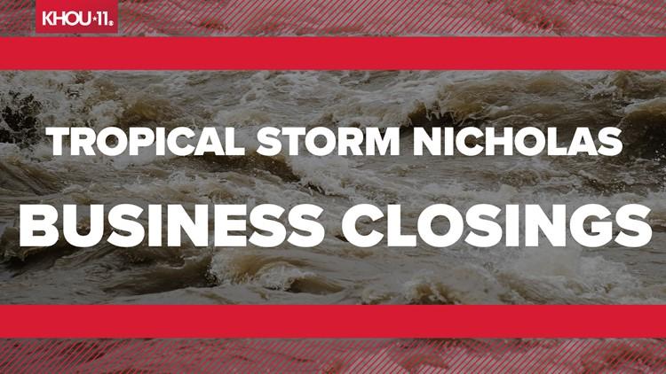 Business/event closings due to Tropical Storm Nicholas