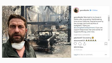 Gerard Butler posts image of Malibu home burned in wildfire