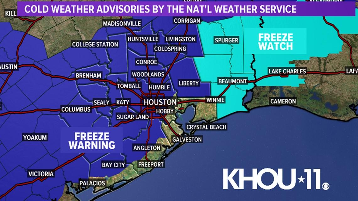 Houston Forecast: Freeze warning tonight into Wednesday morning