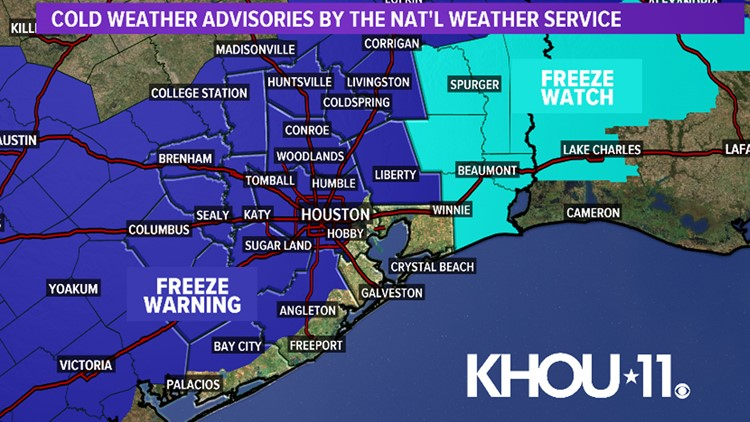 Houston Forecast: Freeze warning tonight into Wednesday morning