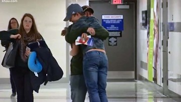 Hugs and happy reunions at Houston airports this Thanksgiving Eve