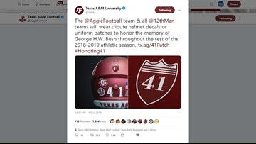 Aggies athletics to honor Bush with patches, decals