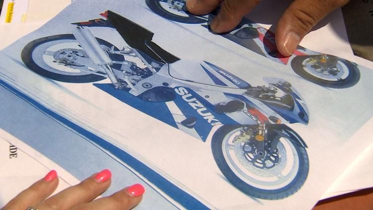 blue and white motorcycle allen murder
