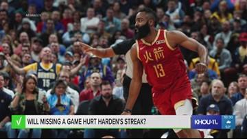 VERIFY: Will missing a game hurt Harden's streak?