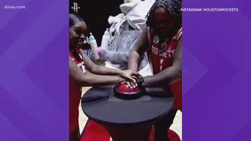 Couple has gender reveal at Rockets game