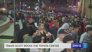 Fans stand in line for hours to see Travis Scott at the Toyota Center