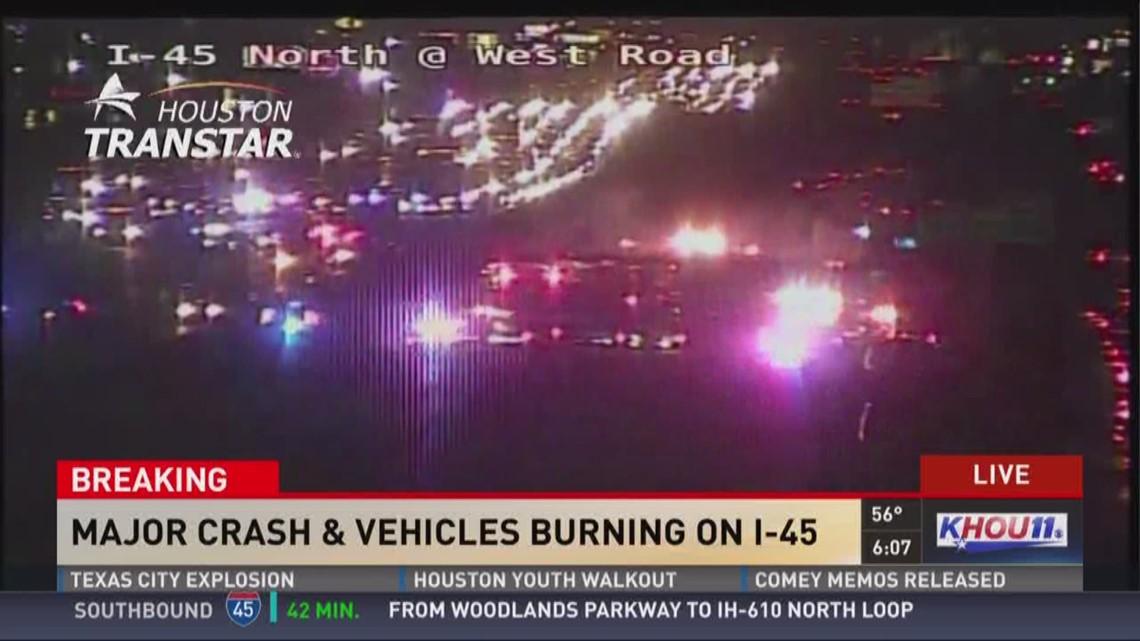 18-wheeler crash on I-45 just south of West Road