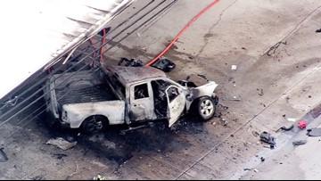 Fiery pickup crash kills 1 on I-45 North