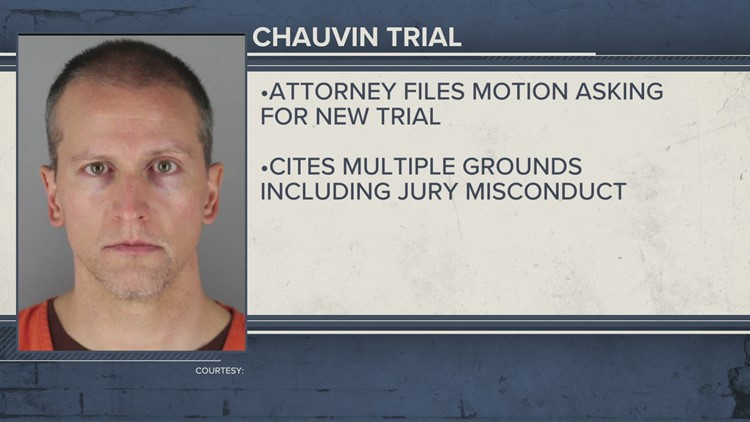 Derek Chauvin's attorney files motion asking for new trial