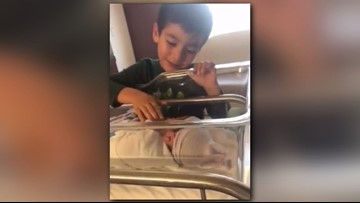 'He looks just like me!': Little boy meets newborn brother in adorable video
