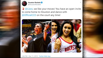 Lizzo + Clutch City Dancers? Why not! The singer has an open invitation to join them at Toyota Center