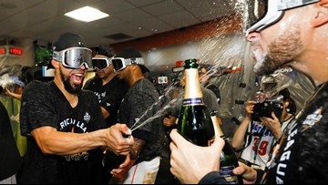 The celebration was on in the Astros locker room