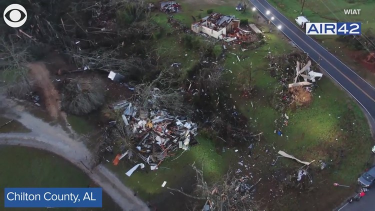Severe storm damage in Alabama | View from above