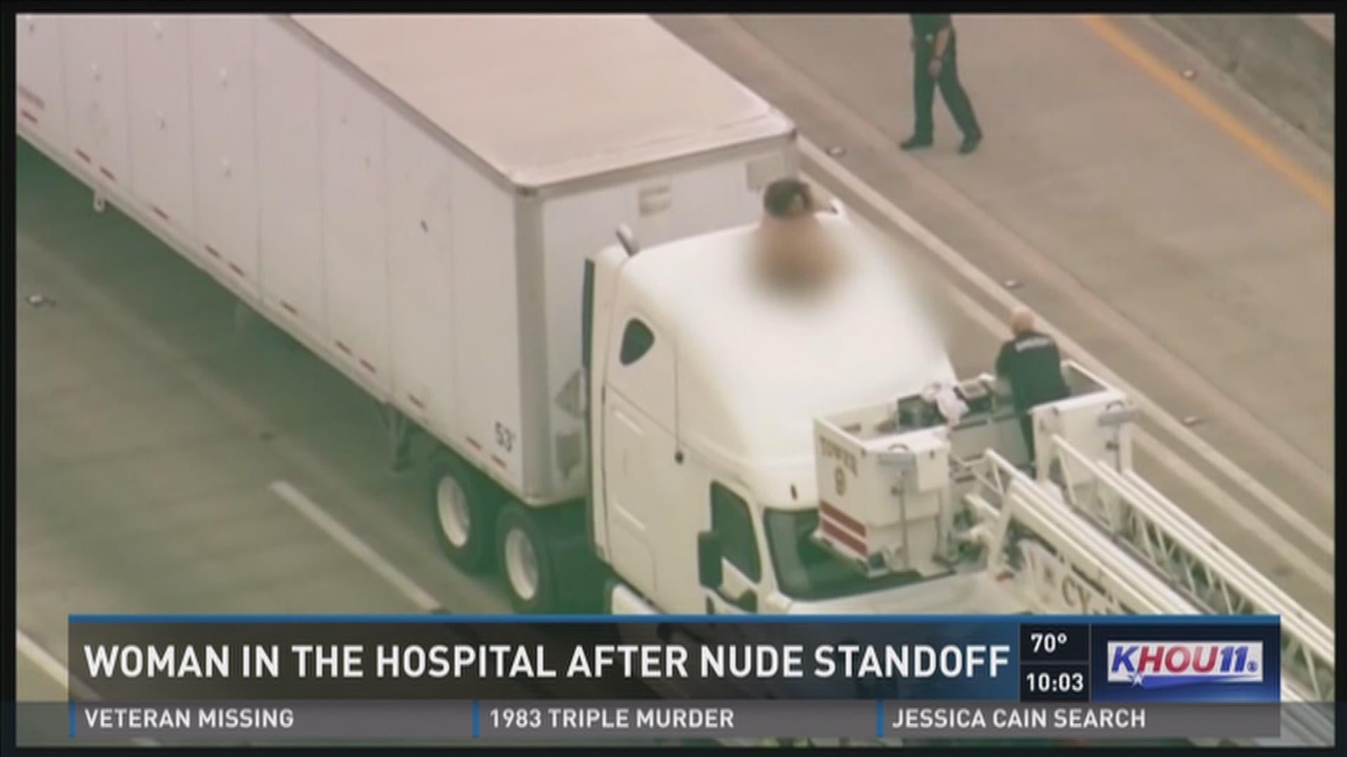 Naked woman shuts down Houston highway during morning rush