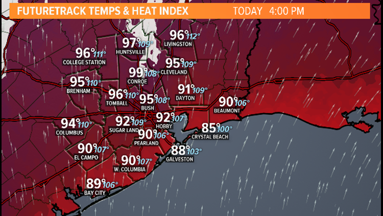 Heat Advisory today with 'feels like' temps as high as 110 degrees