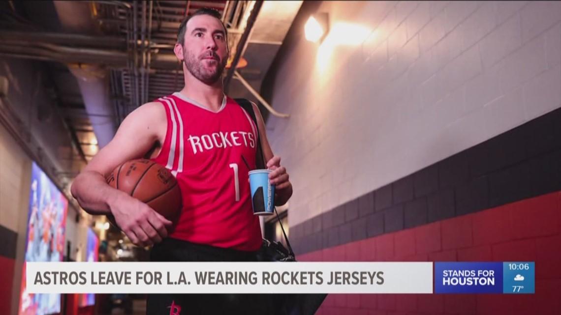 91828f8c5a9 Astros leave for LA wearing Rockets jerseys | khou.com